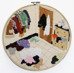Bedroom In Flux, Embroidery on Hemp, Figurative, Bright Colors, Signed