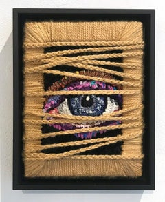 SEEING THROUGH THE WOOL, Textile Art, Fabric, Signed, Framed