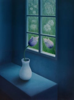 Flower by the Window, Painting, Oil on Canvas