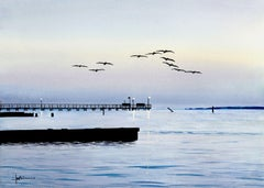 Dawn's Early Flight (Pelicaans), Painting, Watercolor on Watercolor Paper