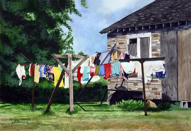 Wash Day, Painting, Watercolor on Watercolor Paper - Art by Leslie McDonald Jr