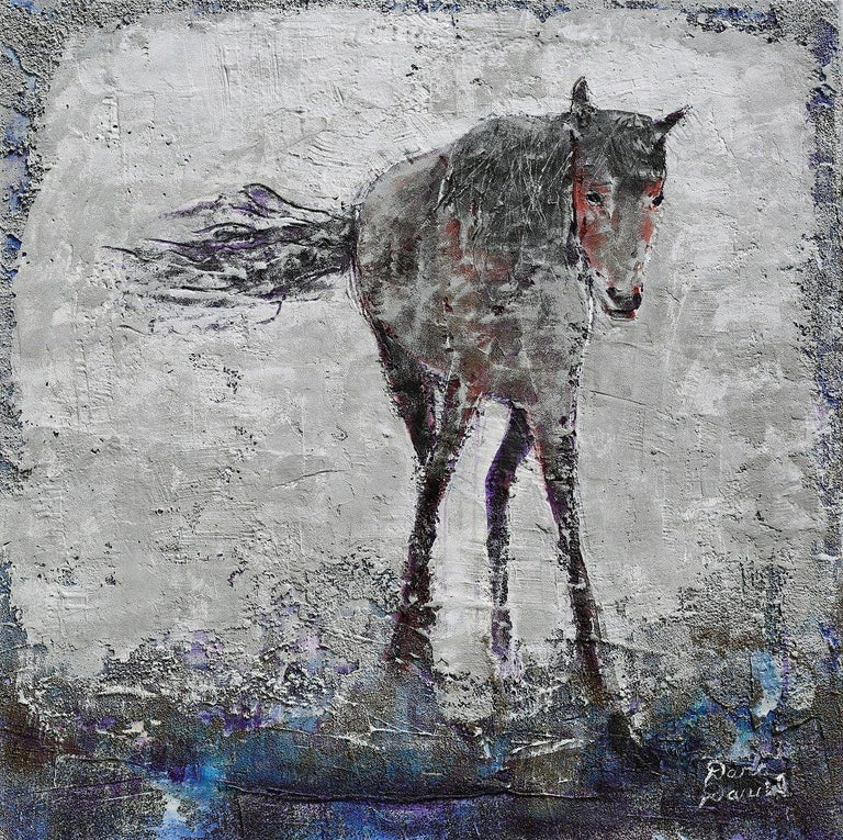 """The subject for """"Against the Wind"""" is a lovely warm colored Bay horse with a black mane and tail. Inspirational for creating this piece was the stance of this horse as the horse seems to be enduring the elements. I always admired the toughness"""