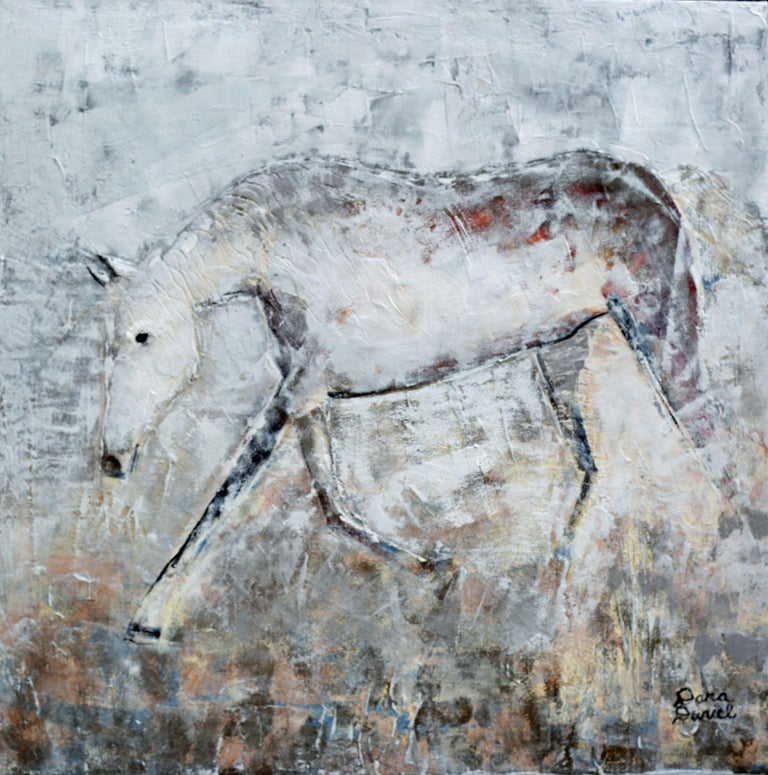 """""""Passing Through"""" is a highly textured Acrylic painting of a beautiful Arabian Thoroughbred. As this painting came to fruition, the horse appeared to be coming out of the paint which is the effect I wanted for in this piece. I also wanted to"""