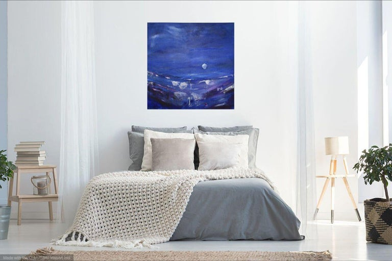 Silver Dream II, Painting, Acrylic on Canvas - Purple Abstract Painting by Gesa Reuter