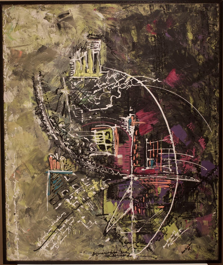 Reciprocal Torture, Painting, Acrylic on Canvas - Black Abstract Painting by IREM KUCUKAY
