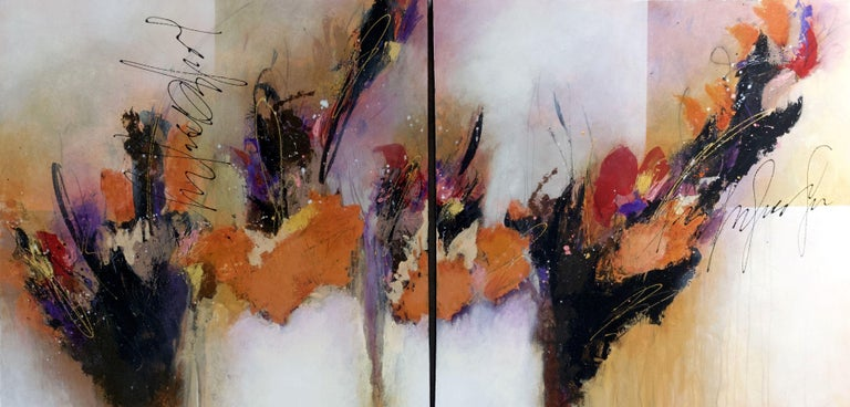 Debbie Joplin Abstract Painting - Catch My Breath (Diptypch), Painting, Acrylic on Canvas