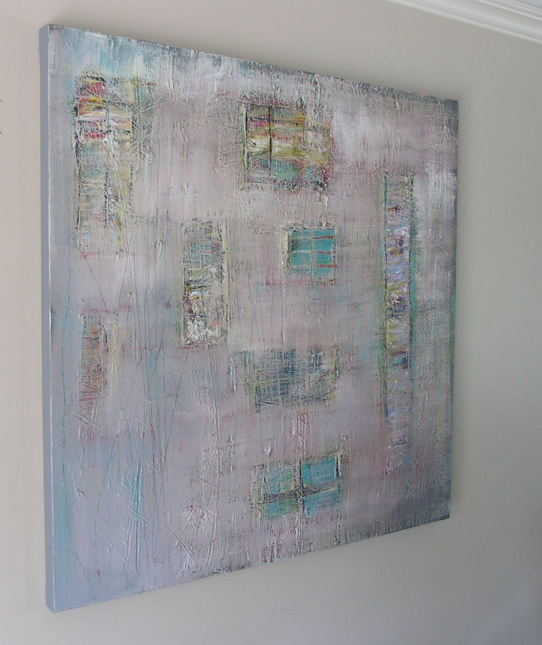 Quiet Shelter, Painting, Acrylic on Canvas - Gray Abstract Painting by Loretta Kaltenhauser