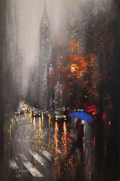 Rainy Day 14 Lexington Avenue, Painting, Oil on Canvas