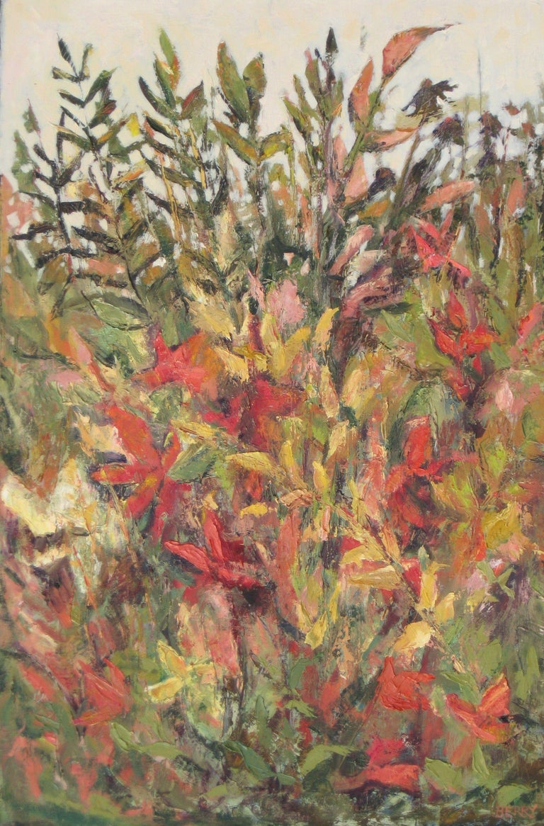 The garden seem to have a last vibrant burst of color in the fall.  It's the time of year I find the garden the most interesting.  This was done with quality oil paints and cold wax on a stretched linen canvas.  It may be hung without a frame. ::