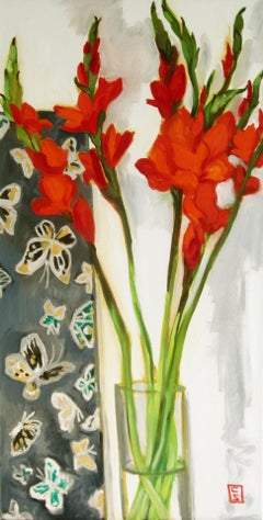 Gladioli and Butterflies, Painting, Oil on Canvas