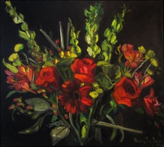 Roses and Irish Bells, Painting, Oil on Canvas
