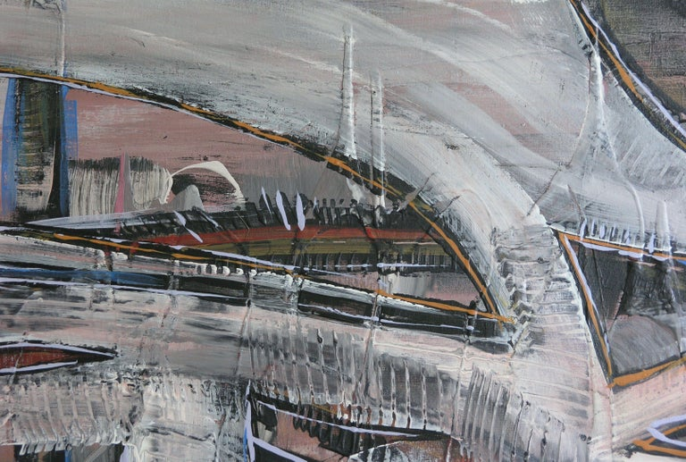 Underpass, Painting, Acrylic on Canvas - Gray Abstract Painting by Loretta Kaltenhauser