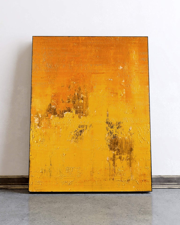 Solid Gold, Painting, Acrylic on Canvas - Orange Abstract Painting by Nemanja Nikolic