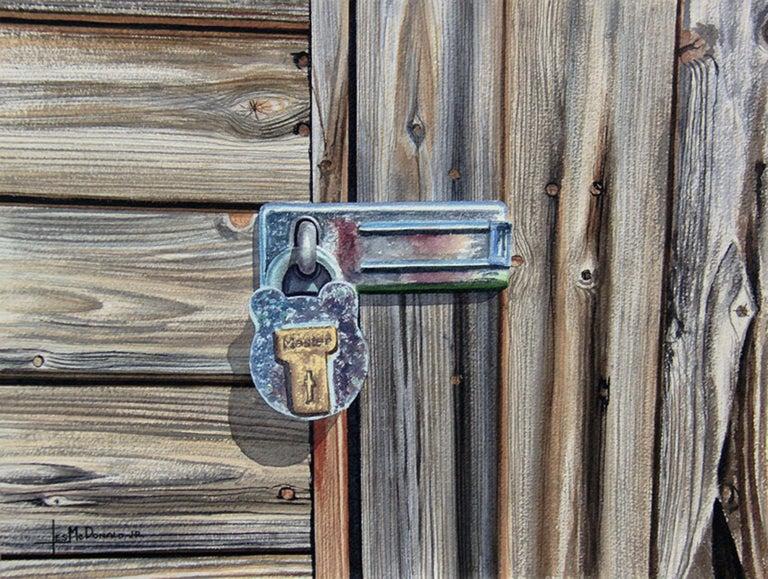 Master Lock, Painting, Watercolor on Watercolor Paper - Art by Leslie McDonald Jr