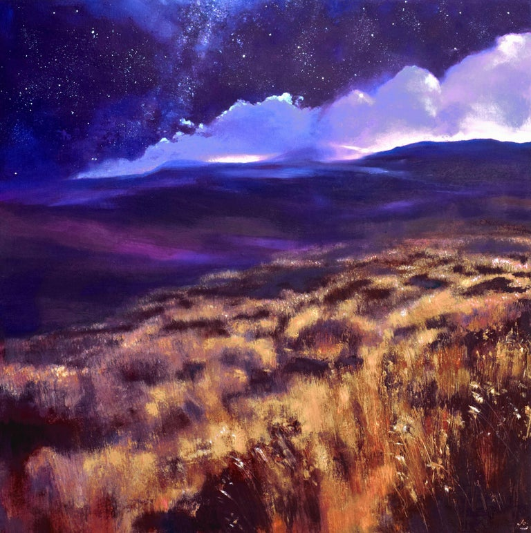 High up in the mountains, it is so quiet.    The bog grasses stretch out across the blanket bog. Beneath the grasses, the earth glows orange and red, as if sighing.    We look up and the blue-violet mountains stand out, silhouetted against the night