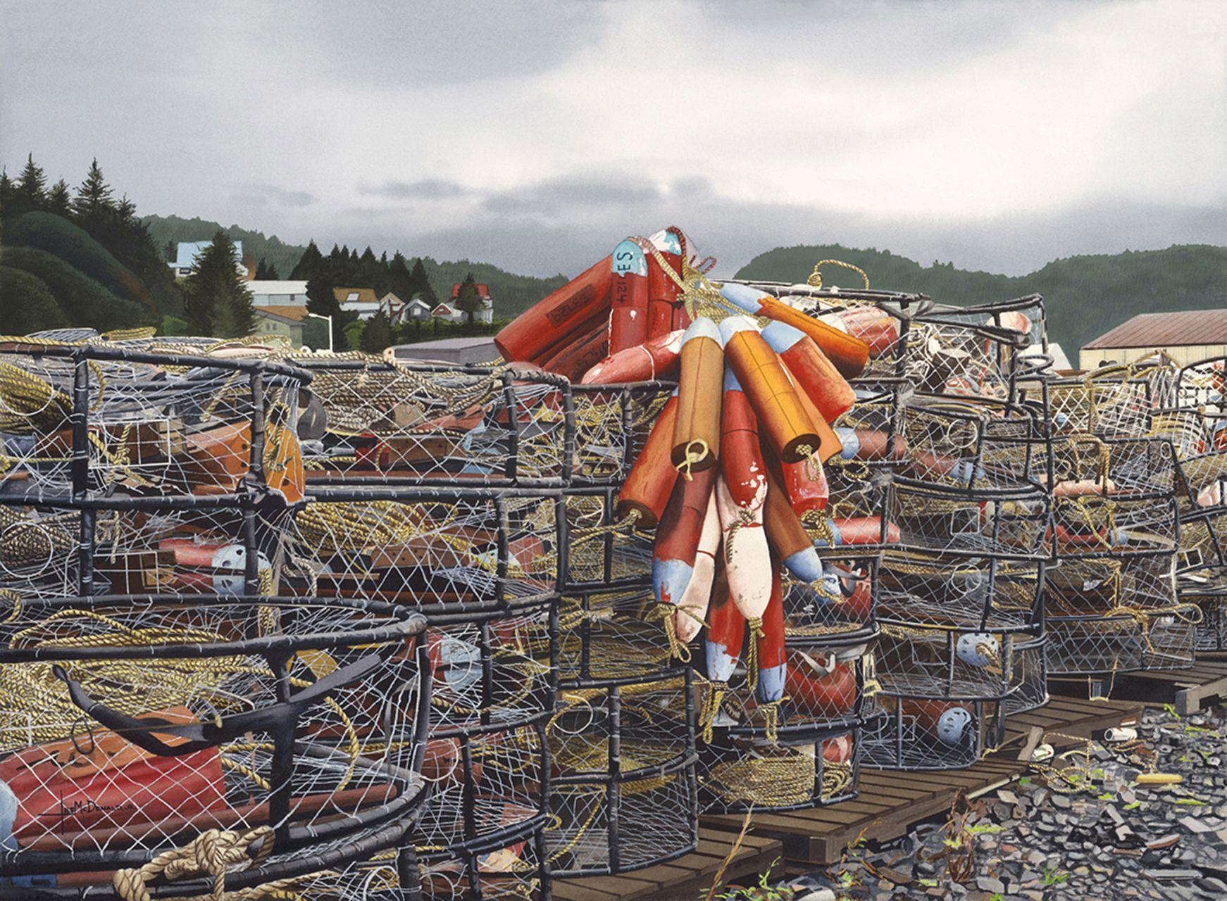 Alaska Crab Traps, Painting, Watercolor on Watercolor Paper