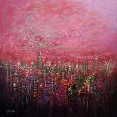 Manhattan in Twilight, Painting, Oil on Canvas