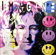 John Lenon, imagine, pink version, Painting, Oil on Canvas