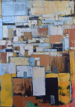 """Abstract city 5"". Size 39.37 x 27.5 inches, Painting, Oil on Canvas"