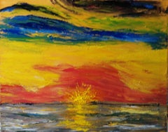 Sunset at Sea, Painting, Oil on Canvas
