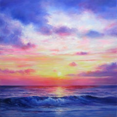 Mediterranean Sunset, Painting, Oil on Canvas
