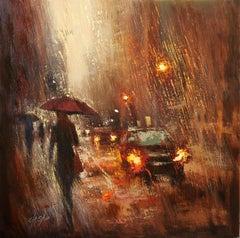 Autumn rain in the City, Painting, Oil on Canvas