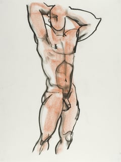 Male Nude 19, Drawing, Pastels on Paper