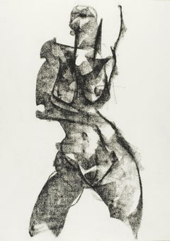 Nude Study 51, Drawing, Charcoal on Watercolor Paper