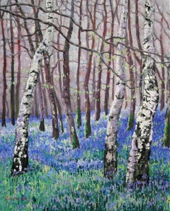Bluebells and Birch Trees, Painting, Oil on Canvas