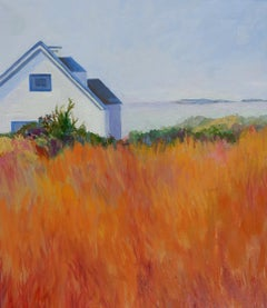 Autumn, House by the Sea, Painting, Oil on Canvas