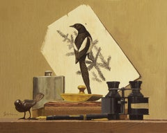 Magpie, Painting, Oil on Wood Panel