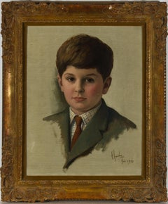 Carlos Luis Sancha (1920-2001) - Framed 1970 Oil, Portrait of a Young Boy