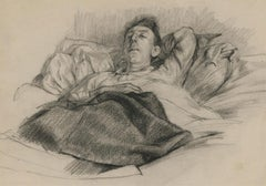 Christopher Alexander (1926-1982) - Mid 20th Century Chalk Drawing, Male in Bed