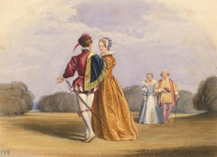 Charles F. Buckley (1812-1869) - Watercolour, Amy Robsart & Earl of Leicester