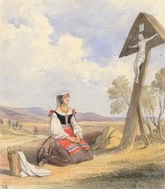 Charles Frederick Buckley (1812-1869) - Watercolour, Italian Peasant Woman