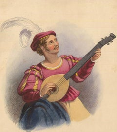 Charles Frederick Buckley (1812-1869) - Watercolour, Portrait of a Musician