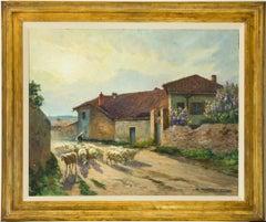 Claude Honoré Hugrel (1880-1944) - Large Signed 1926 Gouache, French Shepherdess