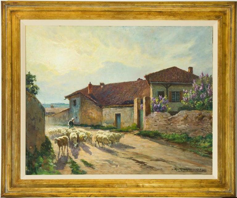 Claude Honoré Hugrel (1880-1944) - Large Signed 1926 Gouache, French Shepherdess - Art by Claude Honoré Hugrel