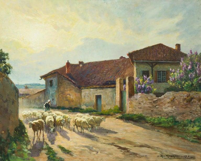 Claude Honoré Hugrel (1880-1944) - Large Signed 1926 Gouache, French Shepherdess - Brown Landscape Art by Claude Honoré Hugrel