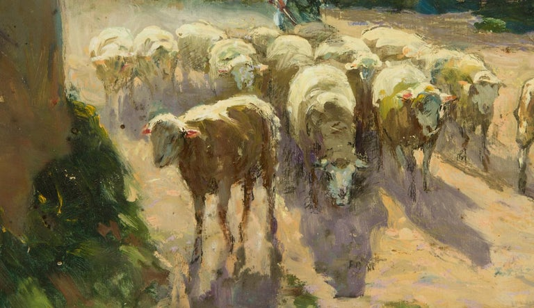 A stunning signed French pastoral view by the acclaimed French artist Claude Honoré Hugrel (1880-1944), depicting a shepherdess driving her flock along a country lane. The artist has included some small details in pastel and charcoal, such as