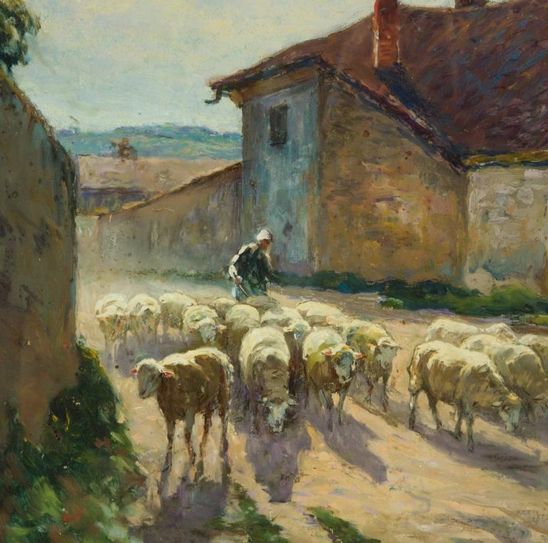 Claude Honoré Hugrel (1880-1944) - Large Signed 1926 Gouache, French Shepherdess For Sale 1