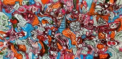 71''x 33''(180x85cm), Life in Colors 10, Painting, Acrylic on Canvas