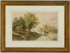 Attributed to Edwin Earp (1851-1945) - Impressive Watercolour, River Landscape