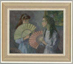 Edith Lawson - Signed Contemporary Oil, Girls In an Interior with Fans