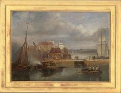 James Wilson Carmichael (1800-1868) - Signed Early 19th Century Oil, The Docks