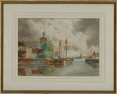 Louis Van Staaten (1859 - 1924) - Fine Signed Watercolour, Dutch Canal View