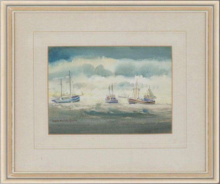 Sybil Mullen Glover (1908-1995) - Watercolour, Fishing Boats in Open Sea - Art by Sybil Mullen Glover