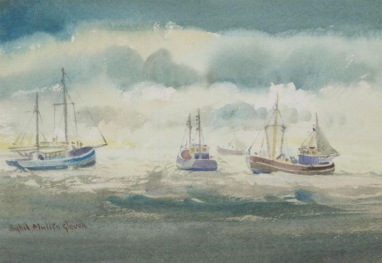 Sybil Mullen Glover (1908-1995) - Watercolour, Fishing Boats in Open Sea - Beige Figurative Art by Sybil Mullen Glover
