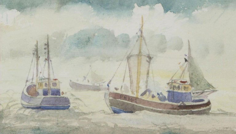 A very fine framed watercolour by well listed artist Sybil Mullen Glover (1908-1995). Depicting fishing boats out at sea. Presented in a washline mount with modern, white wooden frame, with material inlay. Signed. On wove.