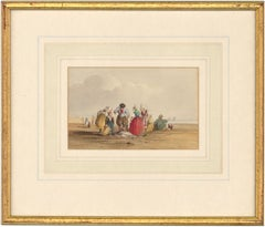 William Henry Harriott (fl.1811 -1839) - Framed Watercolour, Fisherfolk on Beach